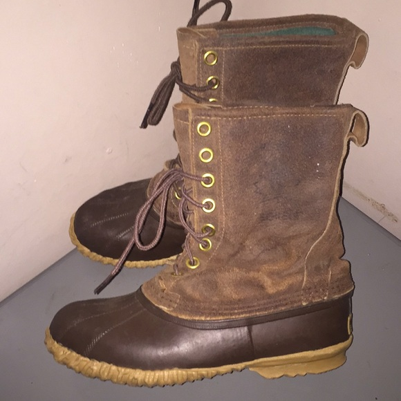 d9f951338b2 Sorel kayak boots winter brown leather rubber men